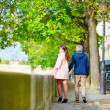 Dating couple in Paris on a nice spring day — Stock Photo #60703545