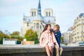 Couple near Notre-Dame de Paris — Stock Photo