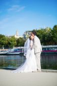 Just married couple on the Seine embankment — Stock Photo