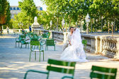 Bride and groom in the Tuileries garden of Paris — Stock Photo