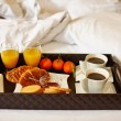 Delicious breakfast in bed — Stock Photo #63153011