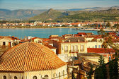 Bird view of central Nafplion with red tile roofs — Stock Photo