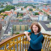 Girl on top of Vor Frelsers Kirke — Stock Photo