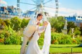 Married couple in the Tuileries garden of Paris — Stock Photo