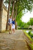Happy couple is dancing in Paris — Stock Photo