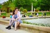 Couple in the Luxembourg garden of Paris — Stock Photo