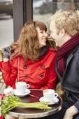Couple having a date in cafe — Stock Photo