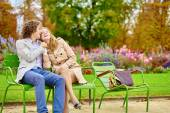 Couple having a date in the Tuileries garden — Stock Photo