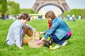 Couple having a picnic near the Eiffel tower — Stock Photo