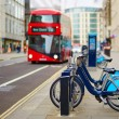 Row of bicycles for rent on a street of London — Stock Photo #68425731