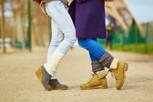 Two girls hugging on the street in Paris — Stock Photo