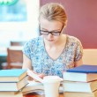 Beautiful young student with lots of books — Stock Photo #70155235