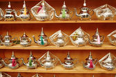 Selection of traditional Moroccan teapots — Stock Photo