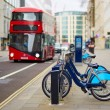 Row of bicycles for rent in London, UK — Stock Photo #72192761