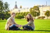 Happy romantic couple together in St. Petersburg — Stock Photo