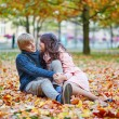 Romantic couple in Paris on a fall day — Stock Photo #73248623