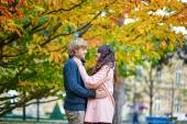 Romantic couple in Paris on a fall day — Stock Photo