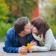 Romantic dating couple on a bright fall day — Stock Photo #73515591