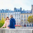 Dating couple in Paris on a fall day — Stock Photo #74751475