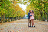Dating couple in Paris on a fall day — Stock Photo