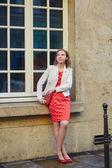 Beautiful young woman walking in Paris — Stock Photo