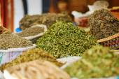 Selection of herbs on a traditional Moroccan market — Stock Photo