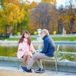 Dating couple in Paris on a fall day — Stock Photo #77508842