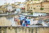 Laundry hanging on roof in Fez — Stock Photo