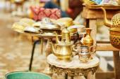 Teapots on Moroccan market in Fes, Morocco — Stock Photo