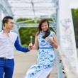 Young romantic Asian couple in Paris, France — Stock Photo #83073016
