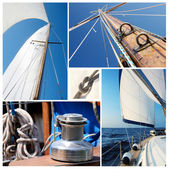 Collage of sailing boat stuff - winch, ropes, yacht in the sea,knot,sails,mast — Stock Photo