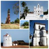 Collage of North and South Goa state popular travel destinations,India  - Panaji,Old Goa, Candolim beach,Aguada fort — Stock Photo
