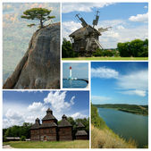 Collage of ukrainian cultural and nature landmarks - medieval wooden churches,Crimea mountains and Dniester river — Stock Photo