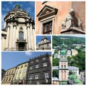 Collage of famous Lvov landmarks (Ukraine),old city center - unesco heritage site — Stock Photo