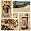 Collage of Rajasthan state popular touristic landmarks,India - golden city of Jaisalmer and Thar desert, place famous for its camel safari — Stock Photo #54525389