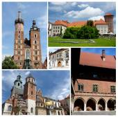 Collage of Krakow famous landmarks,listed as unesco cultural heritage - Wawel,Mariacki church,Jagiellonian University — Stock Photo