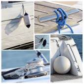 Collage of modern sailing boat stuff - winches, boat fenders,ropes and snatch cleats — Stock Photo