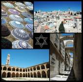 Collage of Israel landmarks ,home of three main world religions - judaism,christianity and islam — Stock Photo
