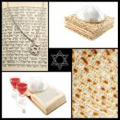Collage of jewish religious holiday attributes - Torah,Magen David,ritual red wine and maza — Stock Photo