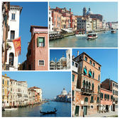 Kolaż starych znanych zabytków Venice (Włochy) do projektowania podróży — Zdjęcie stockowe