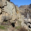View of Geghard rock monastery with ancient khachkars ,Armenia, Caucasus, unesco world heritage site — Stock Photo #68613245