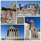 Collage of popular Armenia touristic landmarks, unesco heritage - ruins of Zvartnots temple,stone khachkars,Geghard monastery and Garni temple — Stock Photo