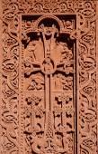 Резьба по камню - Христианский крест с цветочным орнаментом Гегард рок монастырь, Армения, Кавказе, наследия Юнеско — Стоковое фото