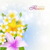 Beautiful flowers background, vector illustration with lilies - — Wektor stockowy