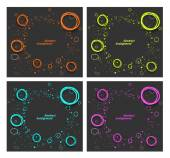 Set of abstract backgrounds with fluorescent splash and circles — Stock Vector