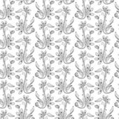 Seamless floral pattern, balck and white — Stock Vector