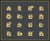 Iconos de seguros de propiedad — Vector de stock