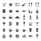 Ícones de cozinha de restaurante — Vetor de Stock