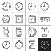 Clock and watch icons — Stok Vektör