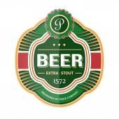 Zelené pivo láhev popisek šablona — Stock vektor